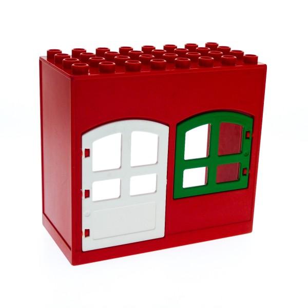 1 x Lego Duplo Gebäude Haus rot 4x8x6 schmal Zimmer Tür weiss Tor Fenster grün Puppenhaus 31023 31022 6431