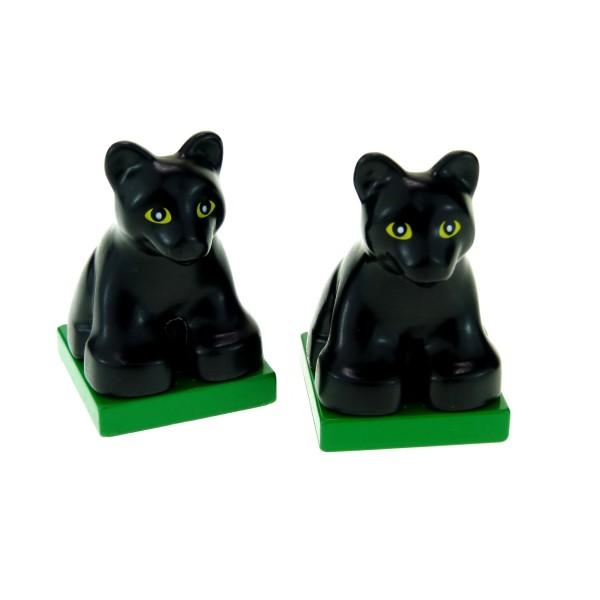 2 x Lego Duplo Tier Panther schwarz auf Platte grün Puma Baby Zoo Zirkus Safari Katze 2334c03pb02