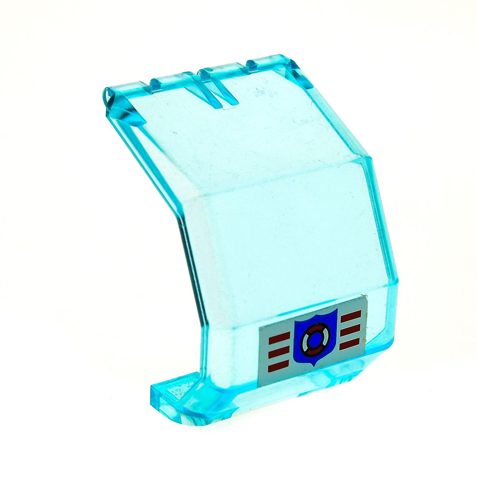 1x Lego Windschutzscheibe hell blau 4x4x4 Coast Guard Logo Fenster 6342 2483pb05