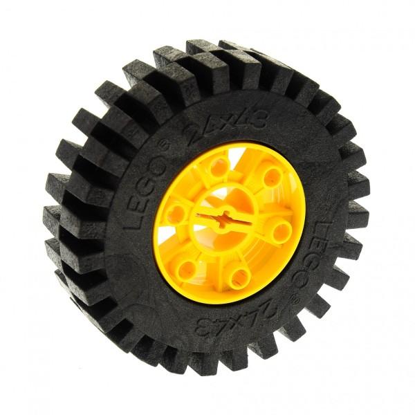 1 x Lego Technic Rad Reifen schwarz 24 x 43 Racing Felge gelb 24x43 Technik 3739 3740 für Set 8862 3739c01