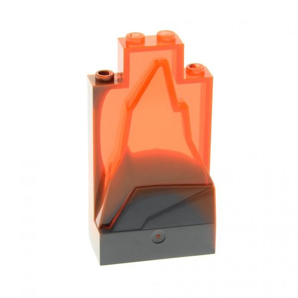 1 x Lego System Fels transparent neon orange neu-dunkel grau 2x4x6 Felsen Stein Wand Berg klein Set 8637 7093 7199 7257 47847pb002U