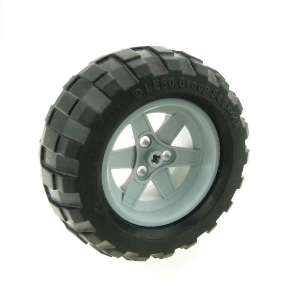 1 x Lego Technic Rad schwarz 94.8x44 R Felge Ballon Reifen neu-hell grau 56mm D.x34mm 3 Pin Löcher Technik Set 8284 8297 8284 8063 44772 54120 4291178 4211845 44772c02