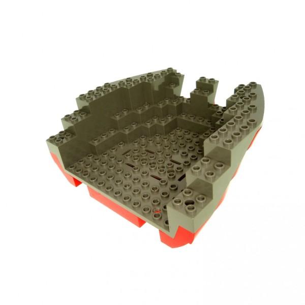 1 x Lego System Boot Rumpf Heck alt-dunkel grau rot 14x16x5 1/3 Piraten Schiff  6290 2559c04
