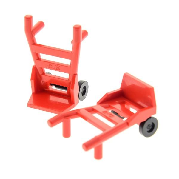 2 x Lego System City Sackkarre rot Flughafen Eisenbahn Gepäck Transport Karre mit Räder Hand Truck Set 7997 10184 8654 4563 4758 75913 2495c01