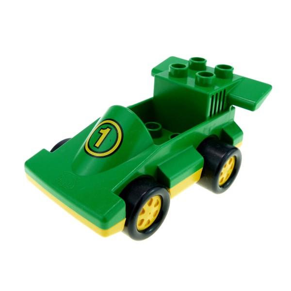 1x Lego Duplo Fahrzeug Auto grün gelb Nr.1 PKW Rennwagen 2674 2599 duploracer01