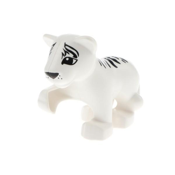 1x Lego Duplo Tier Baby Tiger weiß Streifen schwarz Safari Zoo Katze 54300cx4