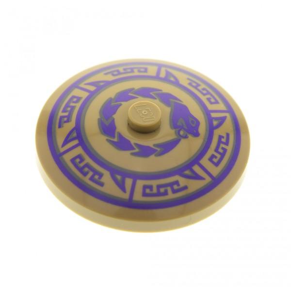 1 x Lego System Schirm Schild rund Sat dunkel beige tan 4x4 bedruckt Schlange dunkel violett für Set Ninjago 70745 70754 70749 70750 3960pb031