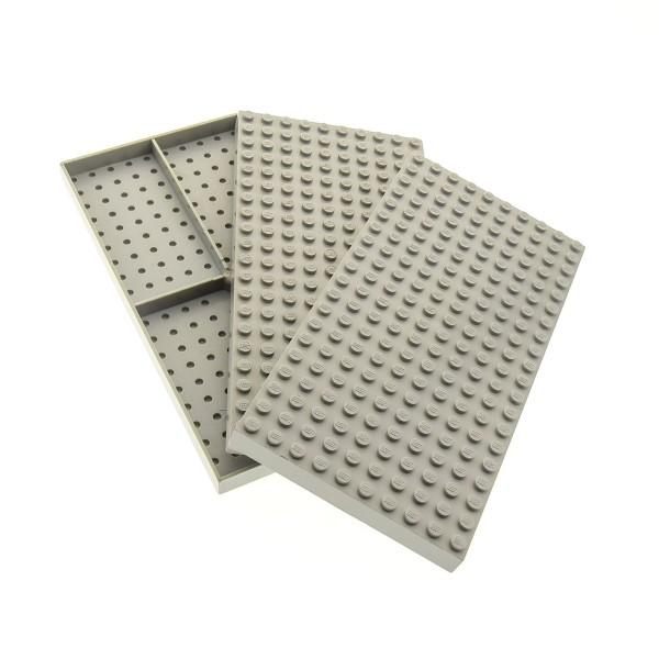 3 x Lego System Bau Platte B-Ware beschädigt alt-hell grau 20 x 10 Noppen 10x20 ohne Bodenröhrchen 700eX