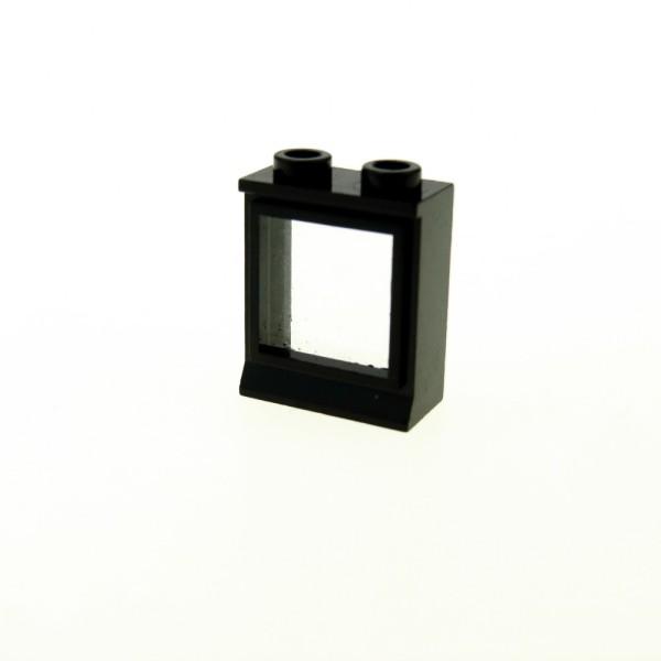 1 x Lego System Fenster Rahmen schwarz 1 x 2 x 2 Zug Eisenbahn Train 12 V 4,5 V Waggon Lok 7026
