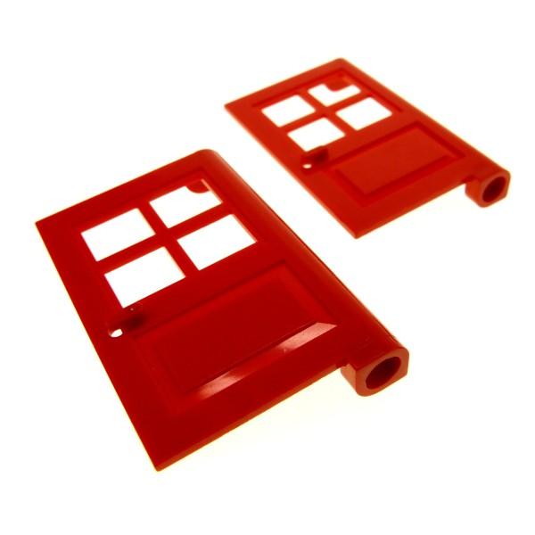 2 x Lego System Tür Blatt rot 1x4x5 Türen Haus mit Fenster Kreuz (Noppe rund und zu) 386121 3861