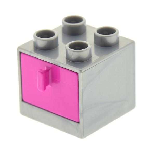 1 x Lego Duplo Möbel Schrank perl-silber grau 2x2x1.5 Kommode mit Schublade dunkel pink 2x2 Schlafzimmer Küche Bad Puppenhaus 4646775 4890 4891