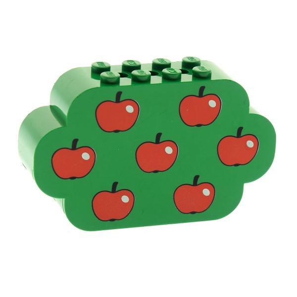 1 x Lego System Bau Motiv Stein grün 2x8x4 Baum Krone beduckt Apfel rot 7 Äpfel Pflanze Obstbaum 6214px2