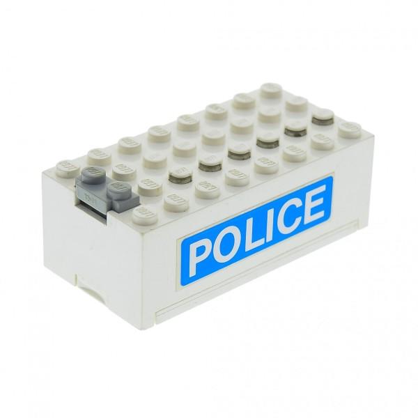 1 x Lego System Electric Batteriekasten weiss blau mit Police Aufkleber Batterie Block Technic 9 V geprüft 4761 4760c01pb07