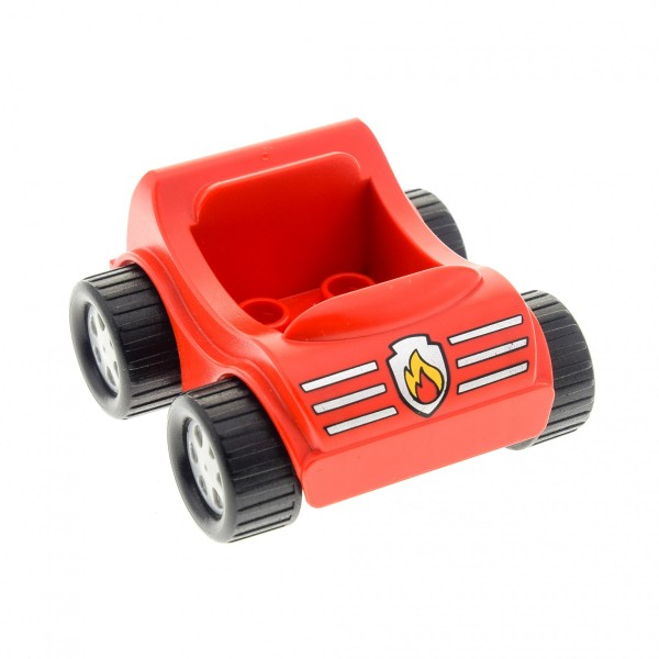 1 x Lego Duplo Go-Kart rot mit Streifen und Feuer Zeichen Auto PKW Fahrzeug 31363pb10