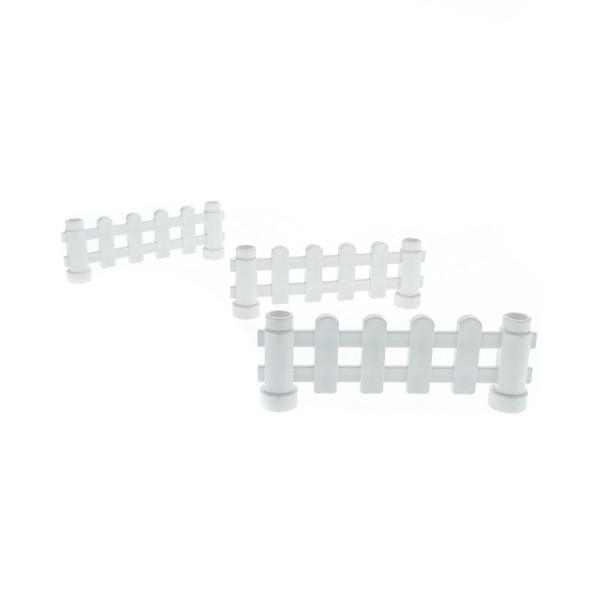 3x Lego Duplo Zaun 1x6x2 weiß Zäune mit Pfosten Gatter Geländer Bauernhof 6497