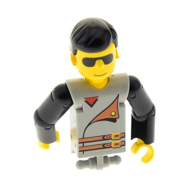 1 x Lego Technic Figur Torso Mann Oberkörper grau bedruckt 2 Gürtel Sonnen Brille Arme schwarz Fahrer Technik 8244 8248 8463 8225 8714 8229 tech012*