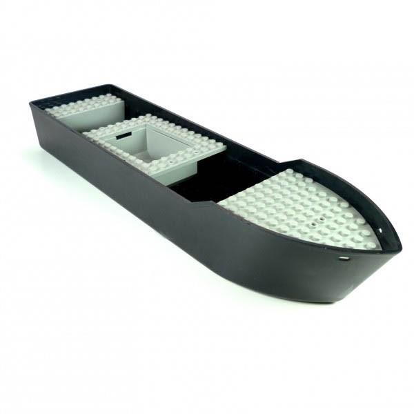 1 x Lego System Schiff Boot Kahn schwarz alt-hell grau Seewacht Rumpf ohne Aufkleber groß 32 x 8,5 cm Lego D01