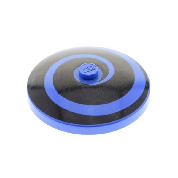 1 x Lego System Radar Schild rund Sat blau 4x4 bedruckt Spirale schwarz Dish 4 x 4 Inverted 6497 6496 3960p02