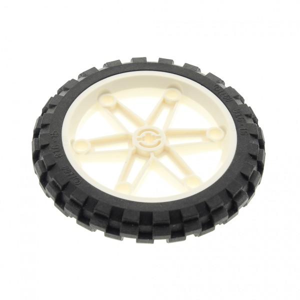 1 x Lego Technic Rad Reifen schwarz 81.6x15 weiss Felge weiss 61.6mm D.x13.6mm Speichen Motorrad Bike Technik  (2903 / 2902) 2903c01