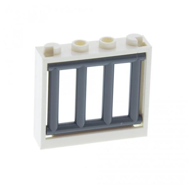 1 x Lego System Fenster Rahmen weiss Gitter neu-dunkel grau 1 x 4 x 3 Verlies Burg Castle Haus Polizei Gefängnis 62113 60594