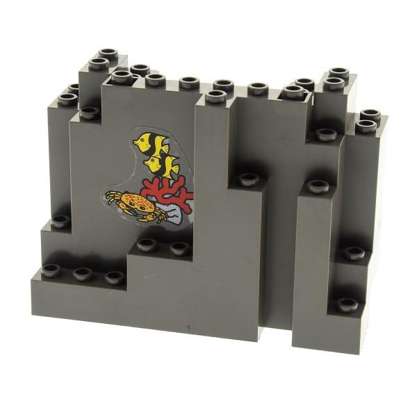 1 x Lego System Fels alt-dunkel grau 4x10x6 Sticker Fische Krabbe Typ2 Felsen Brocken Stein Berg Wand Divers Castle 6559 6558 6082pb03*