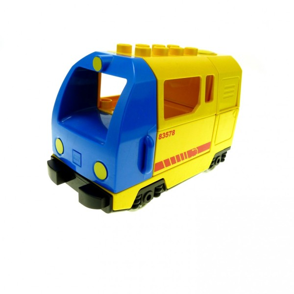 1 x Lego Duplo E-Lok gelb blau Eisenbahn Lokomotive Geräusch Passagier Güter Zug komplett geprüft 51553px1 51546 51547 5135cx1