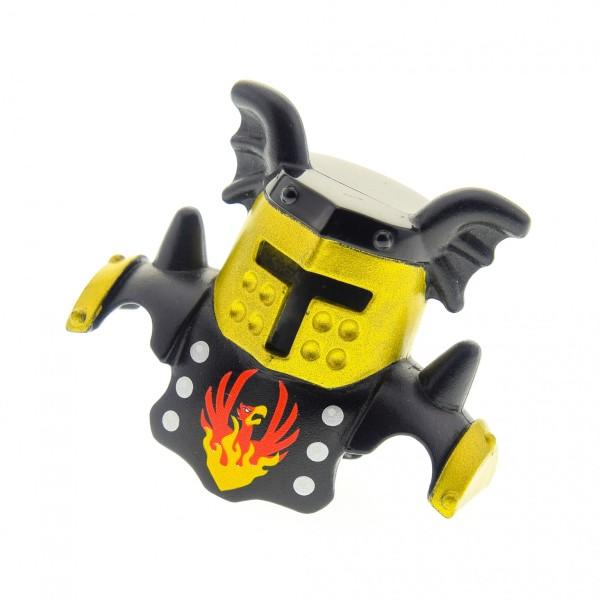1x Lego Duplo Ritter Figur Helm B-Ware abgenutzt schwarz gold Phoenix 51727pb04