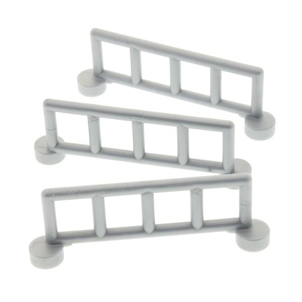 3 x Lego Duplo Zaun pearl hell grau mit 5 Pfosten Zäune Gatter Gitter Geländer Absperrung Fence für Bauernhof Eisenbahn 4171042 2214