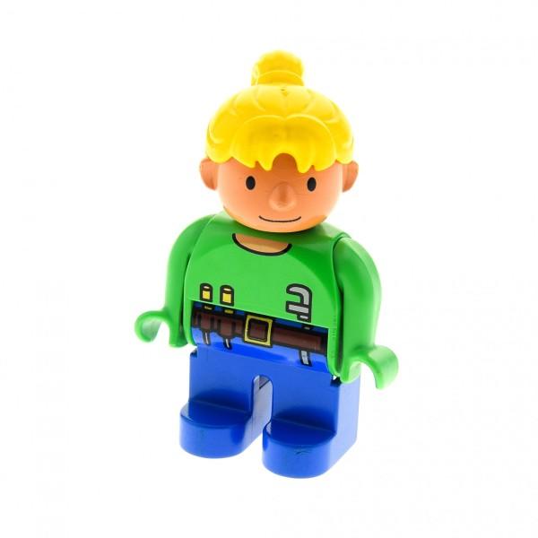 1 x Lego Duplo Figur Frau Wendy Bob der Baumeister blau grün mit Werkzeug Gürtel Haare gelb blond 4555pb092