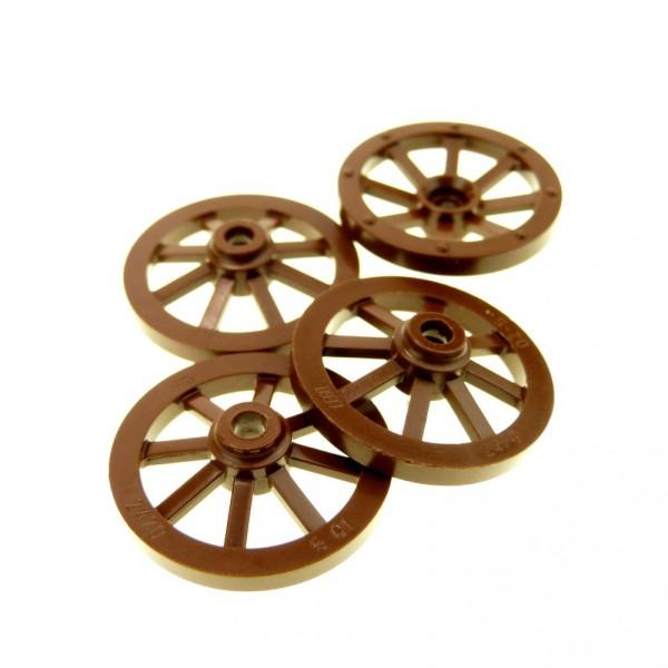 4 x Lego System Wagenrad Wagen Räder klein braun 27 mm Rad für Burg Castle Kutsche Speiche 9376 6088 2470