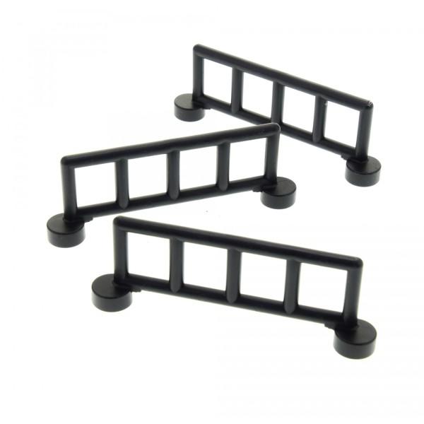 3 x Lego Duplo Zaun schwarz mit 5 Pfosten Zäune Gatter Gitter Geländer Absperrung Fence für Bauernhof Eisenbahn 2214