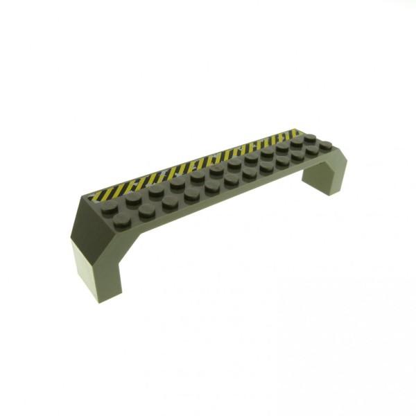 1 x Lego System Stütze alt-dunkel grau 2x14x2 mit Streifen Säule Pfeiler Träger Brücke Bogen Radkasten 4970 4940 30296px1