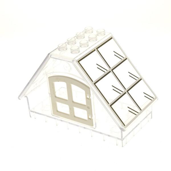 1 x Lego Duplo Gebäude B-Ware abgenutzt Gewächshaus transparent weiss 4x8x5 Haus Fenster weiss Garten 3088 31022 31441