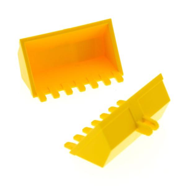 2 x Lego System Bagger Schaufel gelb 3x6 mit 7 Zähnen Digger Bucket Radlader mir Scharnier 7633 60098 4140709 21709 30394
