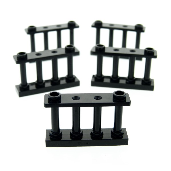 5 x Lego System Zaun schwarz 1x4x2 Gatter Spindeln Zäune Absperrung Fence 3005526 30055