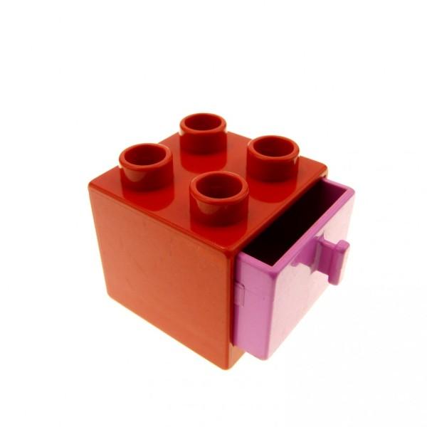 1 x Lego Duplo Möbel Schrank rot pink rosa 2x2x1.5 Kommode mit Schublade 2x2 Schlafzimmer Küche Bad Puppenhaus 4890 4891