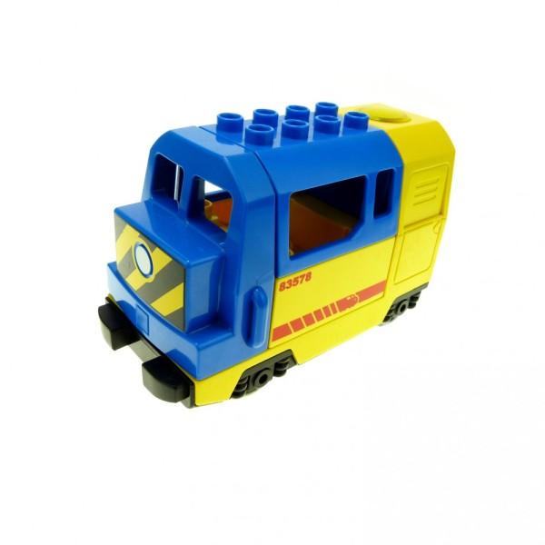 1 x Lego Duplo E-Lok gelb blau Eisenbahn Lokomotive Geräusch Passagier Zug komplett geprüft 51554pb01 51546 51547pb13 5135cx1