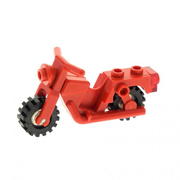 1 x Lego System Motorrad rot Bike Rad Räder transparent weiß Motorcycle Old x81c02