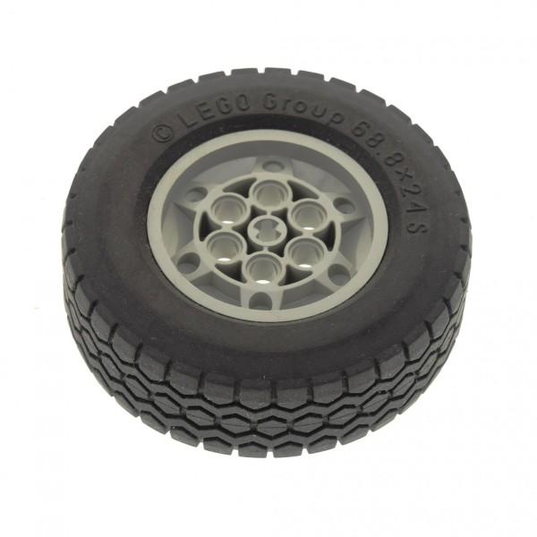 1 x Lego Technic Rad schwarz 68.8 x 24 S Felge alt-hell grau Räder Rad 68.8 x 24 Typ 1 Technik Auto Fahrzeug für Set 5571 32003 32004a