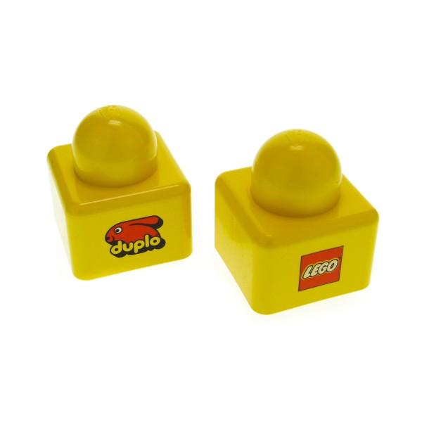 1 x Lego Duplo Primo Bau Stein gelb vorne Duplo Hasen Logo hinten LEGO Logo 1 große Noppe oben Baby Spielzeug 1x1 für Set 2078 31000pb18