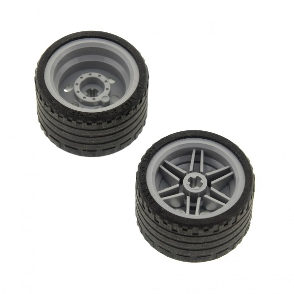 2 x Lego Technic Rad schwarz Räder 37x22 Felge neu-hell grau 30.4mm D. x 20mm Auto Fahrzeug 55978 56145 4499234 4297210 56145c03