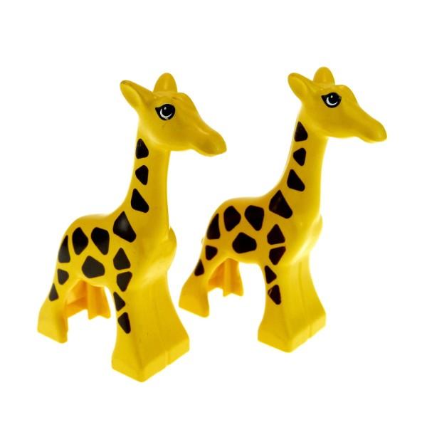 2 x Lego Duplo Tier Giraffe gelb Muster braun klein Baby Giraffen Zoo Safari 2278pb01