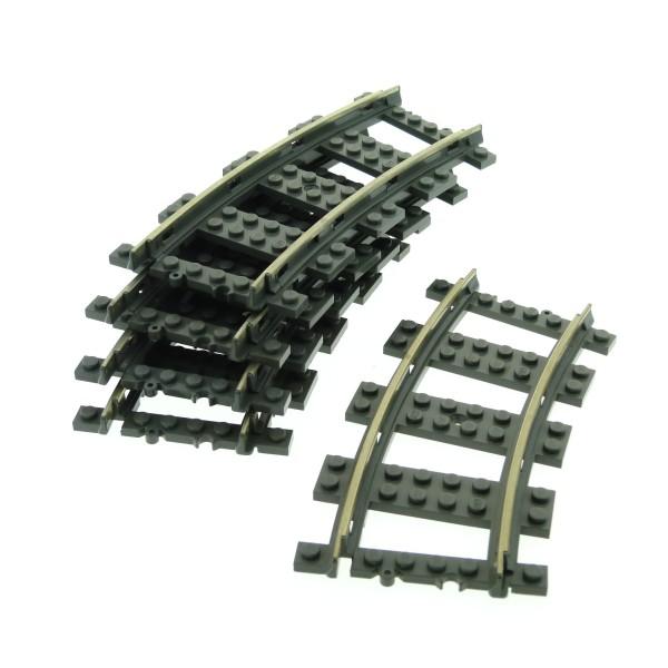 5 x Lego System Schiene alt-dunkel grau Kurve 9 V Eisenbahn Metall Schienen gebogen Zug Gleis 2867