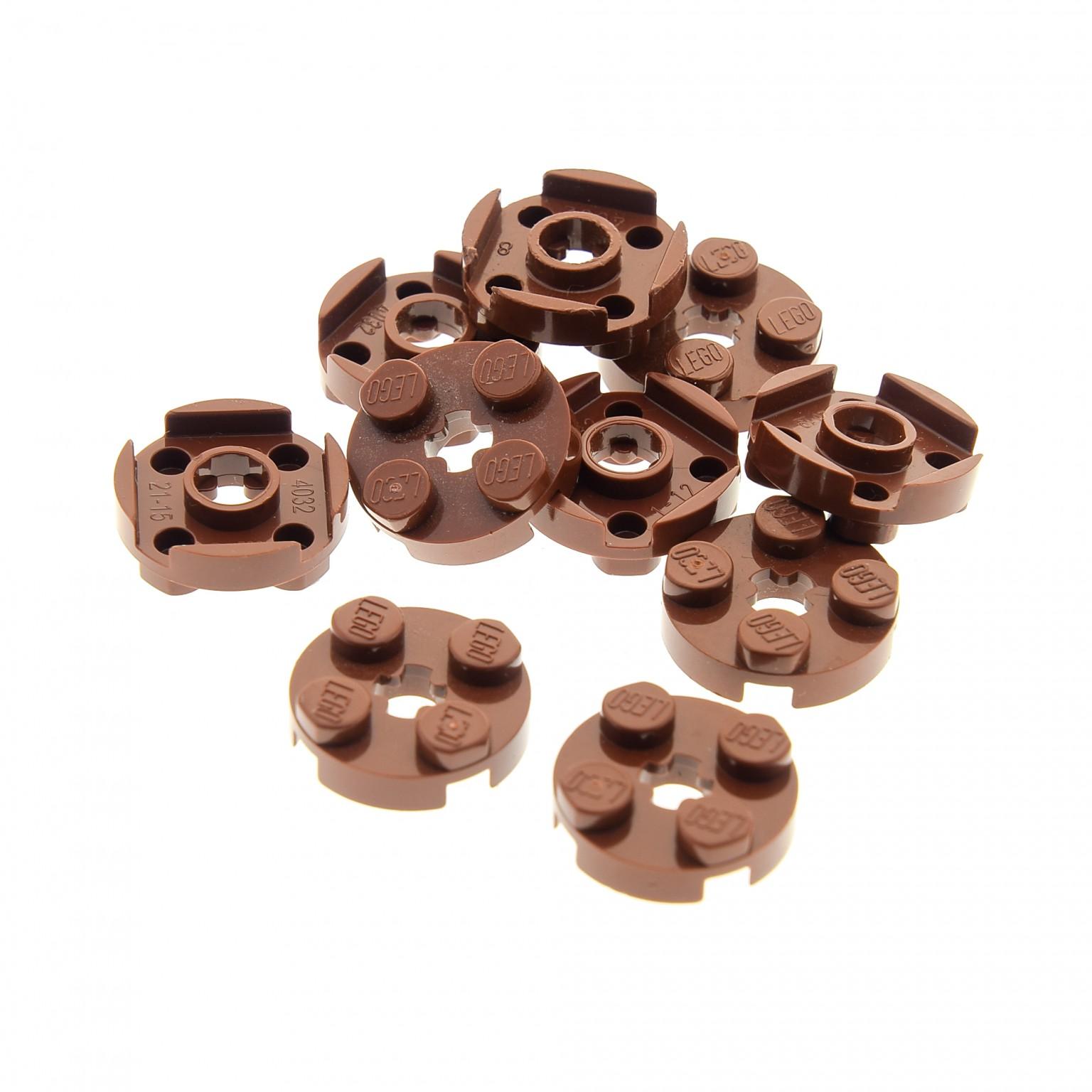 10 x LEGO® 4032 System,Baustein,nougat braun runde 2x2 Steine flach.