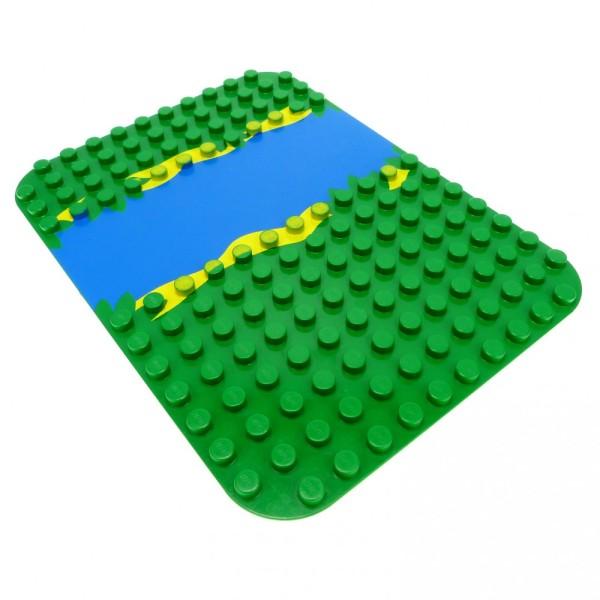 1 x Lego Duplo Bau Platte grün blau 12x16 Noppen Wasser Fluss für Set 2604 2605 9194 31074