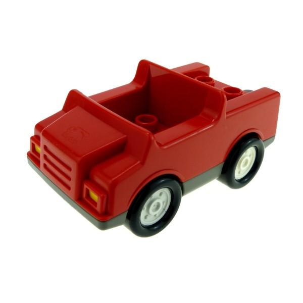 1x Lego Duplo Fahrzeug Auto rot grau Räder weiß Feuerwehr Wagen 3083 2218c04