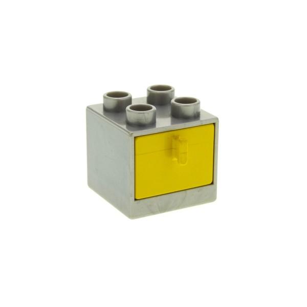 1 x Lego Duplo Möbel Schrank perl-silber grau 2x2x1.5 Kommode mit Schublade gelb 2x2 Schlafzimmer Küche Bad Puppenhaus 4193161 4890 4891