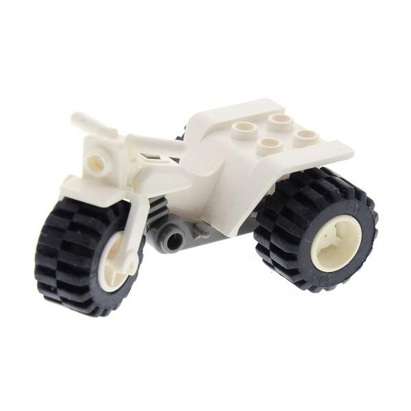 1 x Lego System Motorrad Trike weiss neu-dunkel grau Rad Felge weiß Chassis Fahrzeug Bike Tricycle 30187c06