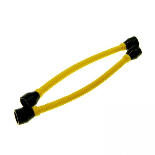 2 x Lego System Flex Schlauch gelb 8.5 L Schlauchverbinder flexibel Hülsen Ende schwarz glatt 73590c01b