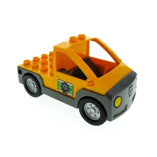 1x Lego Duplo Fahrzeug Auto orange neu-dunkel grau Werkstatt Pickup 47438c01pb02